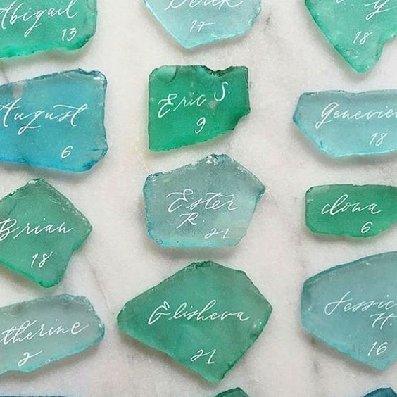 Wedding Themed Sea/Beach - Decoration - sea glass - green - stone - table - names - guests - elegant