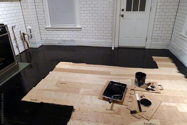 Great rundown on how to paint plywood flooring. UGH, looks laborious. Installing a plywood plank kitchen floor, part two.