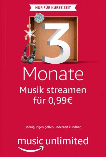 Amazon Music Unlimited, 3 Monate Musik streamen für 0,99€