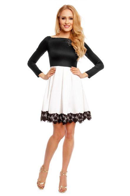 Dámské společenské šaty s dlouhým rukávem a skládanou sukní černo-bílé 248a3fd52a