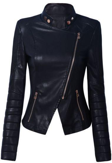 Black Zippered Biker Jacket