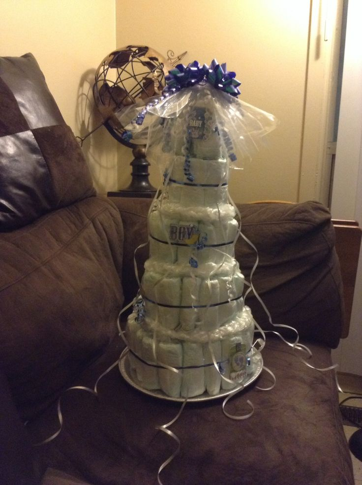 Baby shower gift a cake made of diapers
