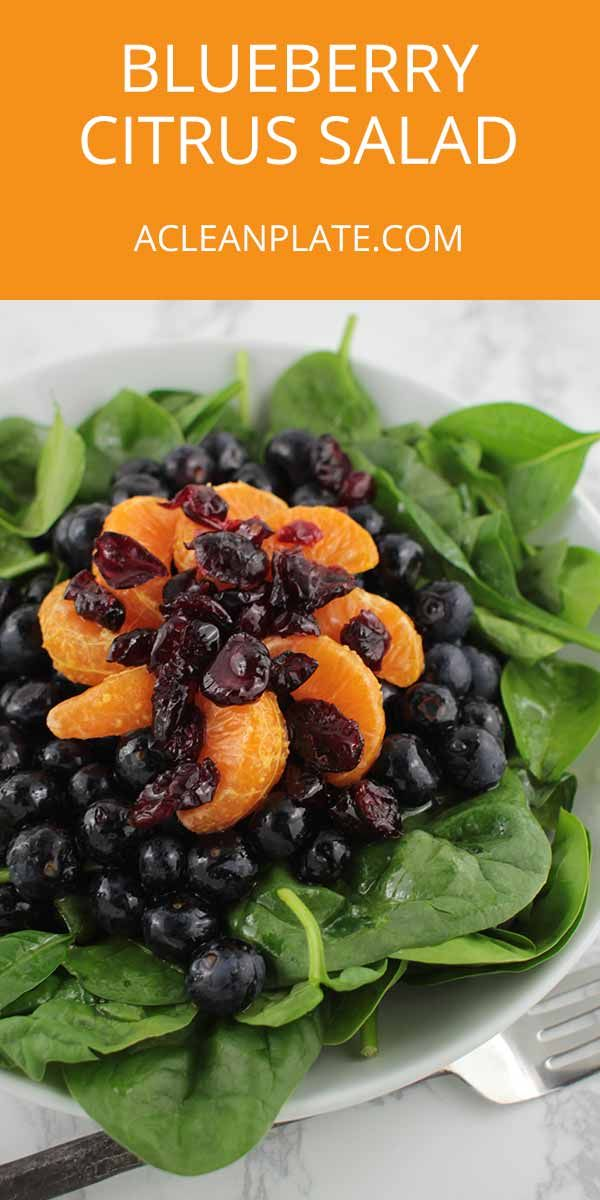 Looking for a quick, healthy side dish? This Blueberry Salad with Orange Vinaigrette is bursting with flavor! https://www.acleanplate.com/recipe/blueberry-salad-with-orange-vinaigrette/