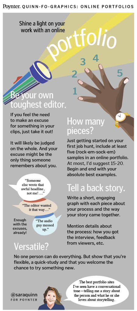Shine a light on your work with an online portfolio INFOGRAPHIC   Poynter.org #personalbranding #careers