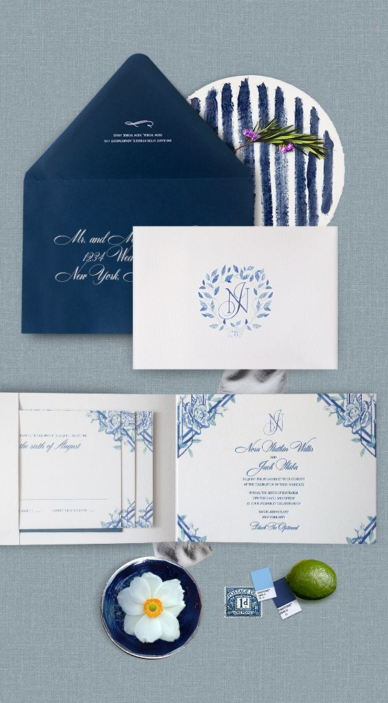 Watercolor Navy Blue Wedding Invitation Design With Florals And