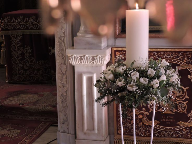 Moustakas flowers -Wedding candles decoration #Moustakasflowers #weddingcandles #flowers #classicdeco #churchdeco