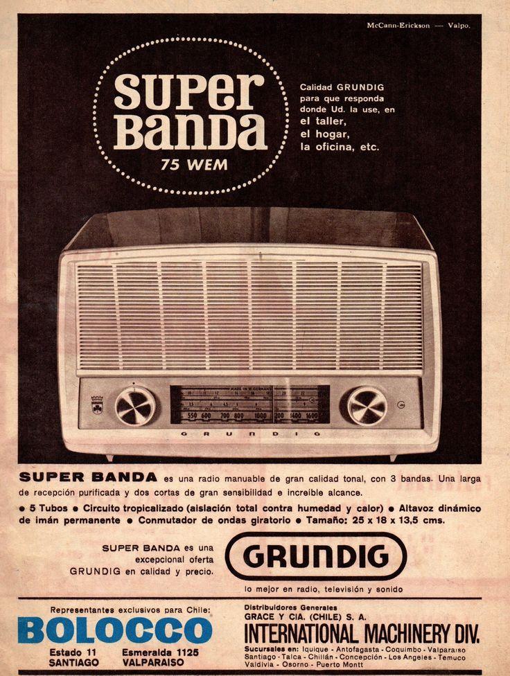 Super Banda / Grundig, lo mejor en radio, televisión y sonido. Representantes exclusivos para Chile: Bolocco / Grace. Publicado en Revista en Zig Zag, 27 de septiembre 1963.