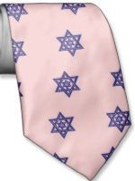 Pink Star of David tie