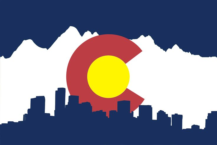 Denver skyline, outline of the Rockies, and the flag....gah!