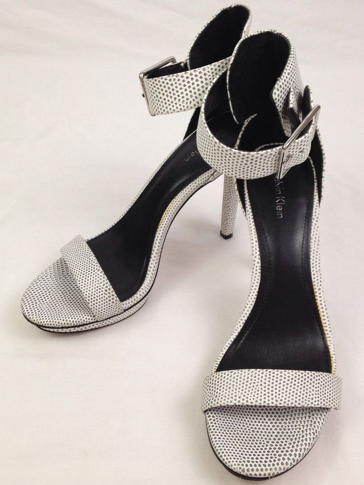 Calvin Klein Vivian Heels Womens 9 M Sz Open Toe Sandals Pumps Shoes White  Black
