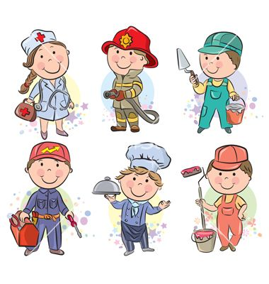 Professions kids set vector 1291604 - by pinkcoala on VectorStock®