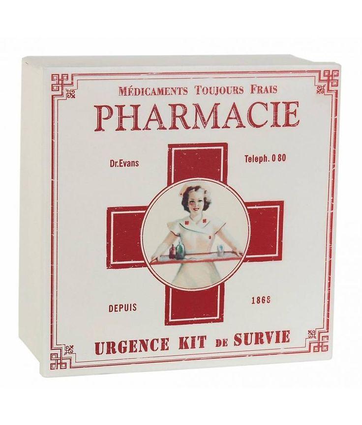 Clayre & Eef Metalen medicijnendoos metaal 22*22*9 cm met opschrift Pharmacy