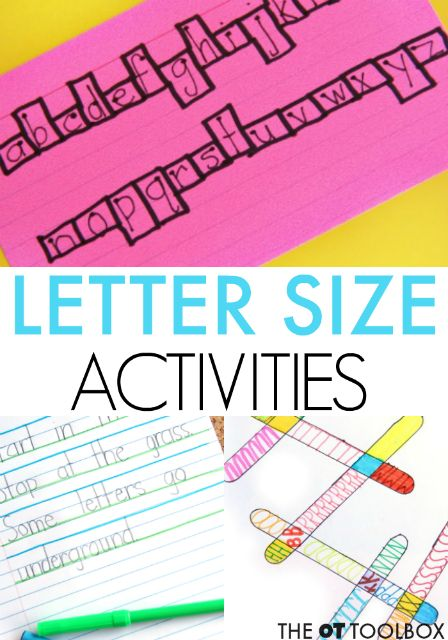 These handwriting activities are an easy way to help kids work on size awareness in handwriting.