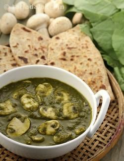 This Khumbh Palak is much more flavourful than the average mushroom preparation as it is supplemented by a vibrant spinach paste, a tangy tomato paste, a pungent onion paste as well as whole spices and spice powders!