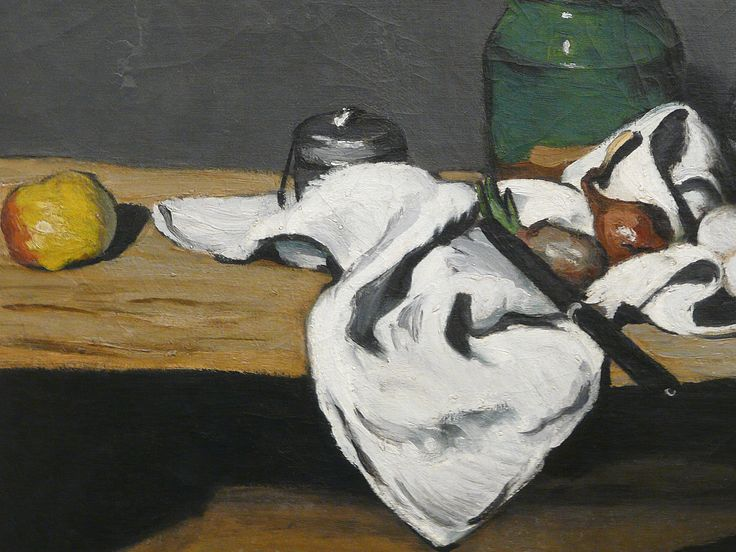 """CEZANNE,1867-69 - Pot vert et Bouilloire d'étain - Still Life with Green Jar and Pewter Kettle (Orsay) - Detail 3 - TAGS : details détail détails detalles painting paintings peinture peintures 19th 19e """"peinture 19e"""" """"19th-century paintings"""" paintings """"Still life"""" """"Nature morte"""" Orsay """"Nature morte"""" œufs eggs oignons onions nappe """"nappe blanche"""" """"white cloth"""" chiffon cloth gris grey Green Jar Pewter Kettle couteau knife vegetables vegetable légumes fruit fruits food pomme apple table"""
