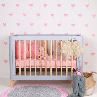 Hearts (pink) - Fabric Wall Stickers