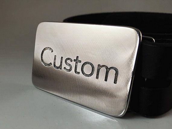 Custom Belt Buckle Etched Stainless Steel by RhythmicMetal