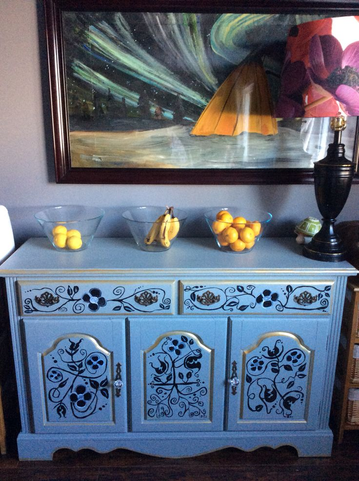 Mixed media, hand painted buffet.  For sale