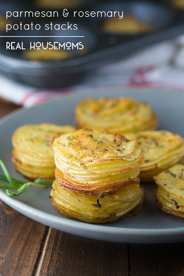 Parmesan & Rosemary Potato Stacks are an easy & delicious way to serve potatoes! A sprinkling of parmesan cheese & fresh rosemary gives them extra flavor.
