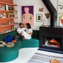 Sunday feeling.  Apartamento's Omar Sosa with stylish chef Laila Gohar in their New York apartment. Beautiful design done by Sam Stewart and Paul van der Grient, who've chosen the deep green Pilot textile by Kvadrat/Raf Simons for the sofa.   Photo by @brianwferry   #sunday #newyork #apartment #lovecolour #omarsosa #lailagohar #kvadratrafsimons #lovecolour #kvadrattextiles @lailacooks @omarsosabartolome @popeye_magazine_official @samstwr @p_vdg