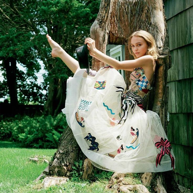 Lily Rose Depp wearing Marc Jacobs Resort '17. Shot by Bruce Weber, styled by Joe McKenna for British Vogue