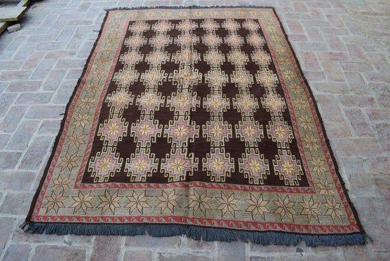 Size: 222 x 160 cm, Beautiful Handmade Vintage Afghan Best Quality Soumak Area Kilim, Decorative Han