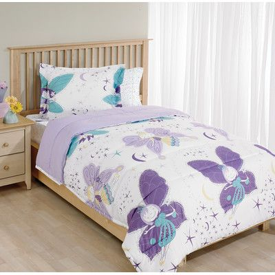 Beco Home Princess Fairy Butterfly 2 Piece Twin Bed Comforter Set