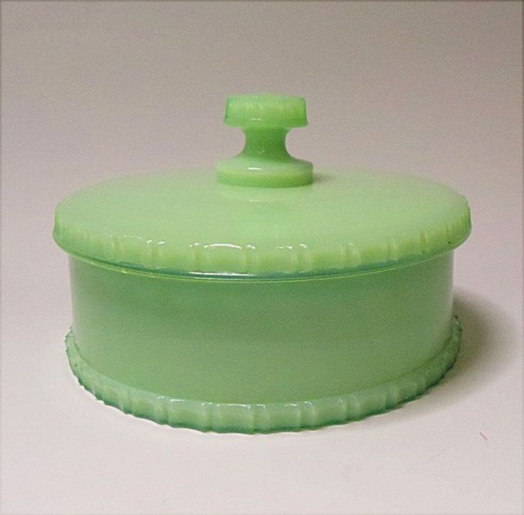 Jade Green Milk Glass 1926 Cosmetic Dresser Jar Powder Box Pat 1692310  #Unbranded