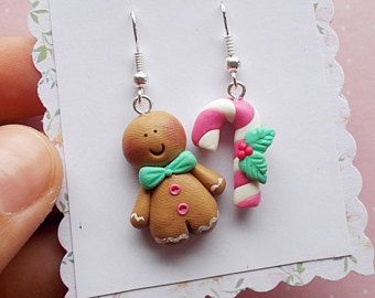 Christmas Earrings - Gingerbread Man Earrings - Food Earrings - Secret Santa Gift Idea - Christmas Jewelry - Christmas Gifts