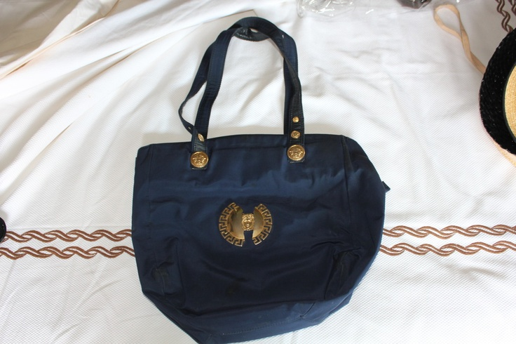 Versace bag with logo brooch (blue)