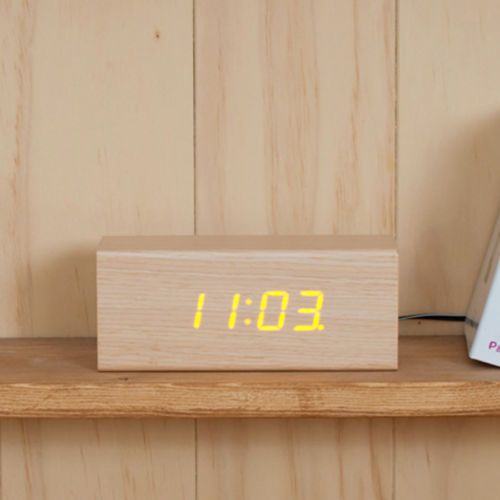 [Mooas] LED Wooden Alarm Clock Time Real Wood Gift New (Rectangular MiniType)