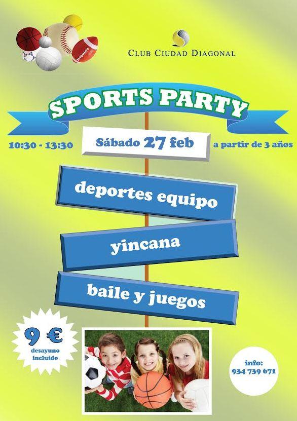 El próximosábado 25 de febrerode 10:30 a 13:30tendra lugar la SPORTS PARTY Deportes de equipo, Yinkana, baile y juegos,.. por sólo 9€ (Desayuno incluido) Info: 934 739 671