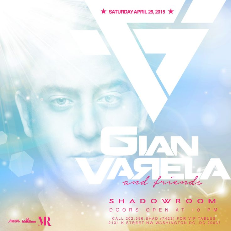 TONIGHT - **SHADurday**  Saturday NIGHT at Shadow Room   ** SPECIAL GUEST DJ - Gian Varela & Friends **  Presented by Perrier Jouët Champagne   RSVP on ShadowRoom.com or call 202.596.SHAD(7423) for VIP Tables.  ** EARLY ARRIVAL IS HIGHLY RECOMMENDED **