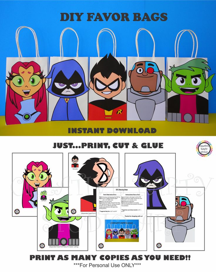 DIY Teen Titans Go Party FAVOR BAGS/ Birthday Party Ideas/ Printable Decorations/ Party Favors/ Purchase these Printable templates @ my Etsy Shop / Teen Titans Party Treat/ Loot/ Goody/ Goodie/ Candy/ Gift bag/ bags/ boxes/ games/ masks/ Instant Download/ cake/ invite/ invitation/ cupcake toppers/ pinata/ Super hero Robin/ Cyborg/ Beast Boy/ Raven/ Starfire/ piñata/ decor/ banner/ jovens titãs festa/ bolo/ lembrancinhas/ painel/ pastel/ fiesta/ free