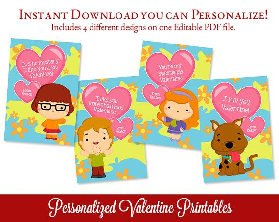 Scooby Doo Valentines Day Cards Valentine por SugarPickleParty