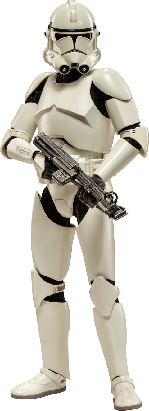 "Sideshow Collectibles Star Wars - Clone Trooper Deluxe: 'Shiny' Sixth Scale Figure ~ ""Fresh from the clone hatcheries of Kamino, these rookie privates have yet to face the realities of warfare. Crafted on a fully articulated body w pristine white armor, the Clone Trooper 'Shiny' features interchangeable Phase 1 & 2 helmets, & an arsenal of essential munitions."" ~ SRP: $139.99"