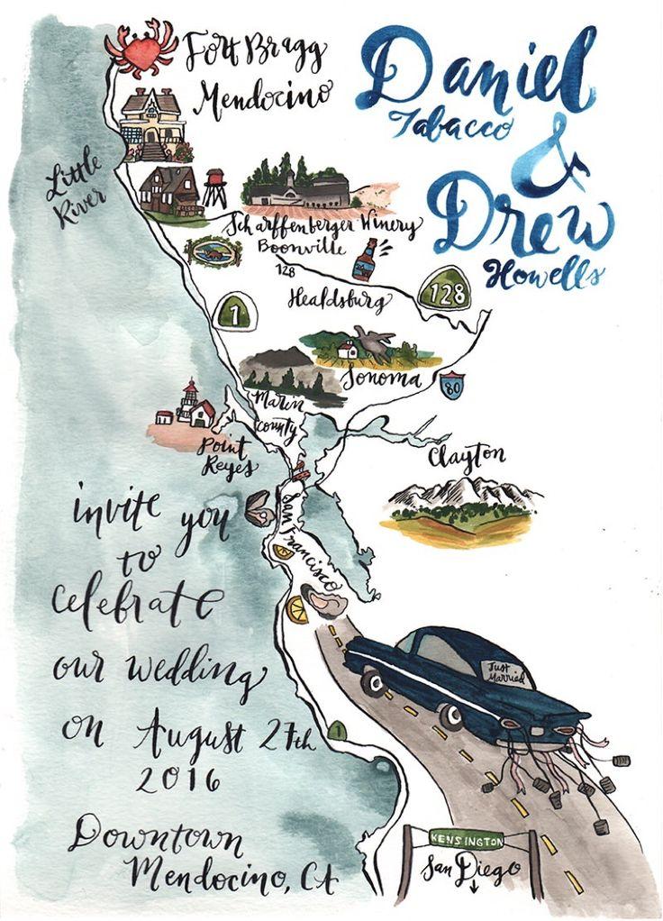 Destination Wedding Map California Coast Pacific Ocean Highway 1 Coastal Wedding Calligraphy & Watercolor Pigment and Parchment Wedding Invitation
