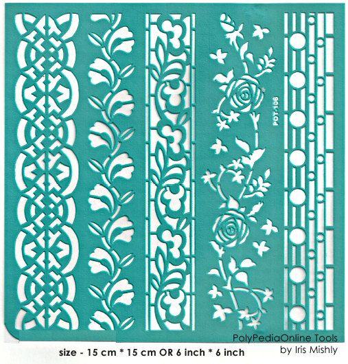"""Plantilla plantillas plantillas """"Geo rosas fronteras"""" 6 pulgadas/15 cm, autoadhesivo, flexible, de arcilla polimérica, tela, madera, vidrio, fabricación de la tarjeta"""