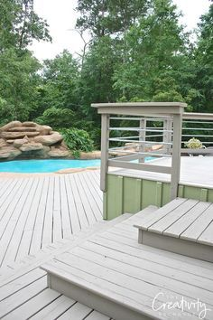 Deck color is Chatham Fog from Behr DeckOver paint.