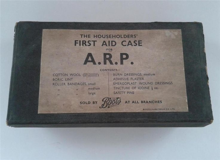 AN ORIGINAL WW2 AIR RAID PROTECTION BOXED ARP BOOTS FIRST AID KIT WITH CONTENTS