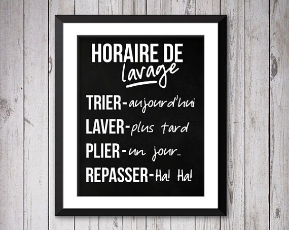 décoration maison, home decor, art print, laundry schedule, horaire de lavage, décoration, imprimé mural