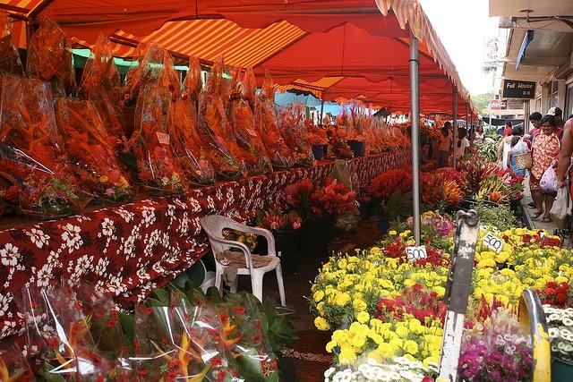 flower market in Papeete, Tahiti