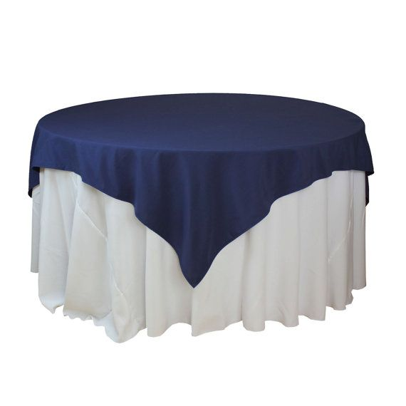 85 x 85 inches Navy Blue Table Overlays, Square Navy Blue Tablecloths, Matte Table Overlays for 6 FT Round Tables | Wholesale Table Linens