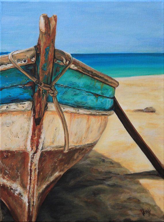 Aquarelle Barque bleu, ciel et mer.