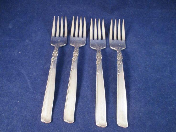 Vintage Oneida Gay Adventure Salad Dessert Forks S/4 SilverPlate 1955 MidCentury #ONEIDA
