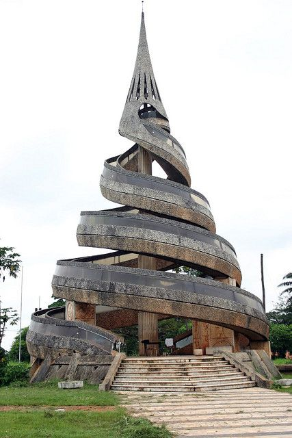 "Yaoundé, Cameroon --- This is the ""monument de la réunification"" which symbolizes the union of the French and the English part of Cameroon. #architecture"