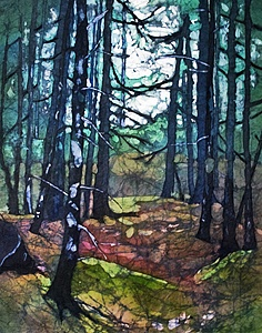 Off The Beaten Trail  -  SOLD  watercolor on rice paper by Krista Hasson