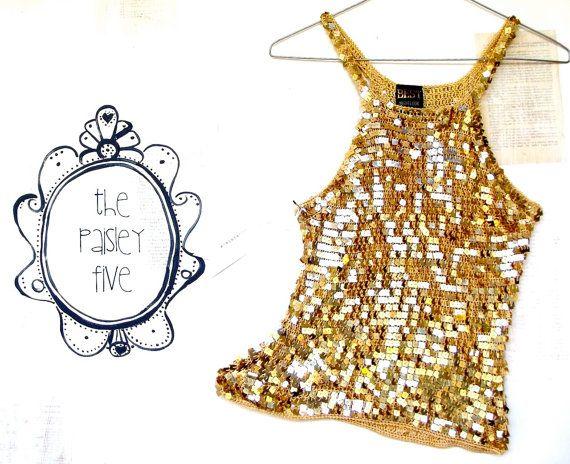 Disco . Vintage Women's Top ... Sparkly Gold Sequins ... size 12 (us 8) oz au australian wandarrah oz au australia etsyau