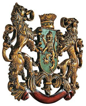 Heraldic Royal Lions Coat of Arms Wall Sculpture traditional-wall-sculptures for columns or gates