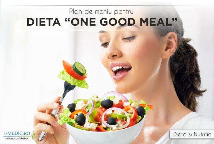 """Denumirea originala a dietei este One Good Meal, si se poate traduce liber """"O Masa Buna"""". De fapt, fix asta implica aceasta dieta: luarea doar unei mese bune pe saptamana. Este o dieta extrema pe care nu oricine o poate urma - http://www.i-medic.ro/diete/plan-de-meniu-pentru-dieta-one-good-meal"""